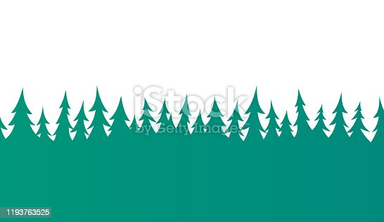 Pine Tree evergreen forest border design element. Tiles left to right seamlessly.