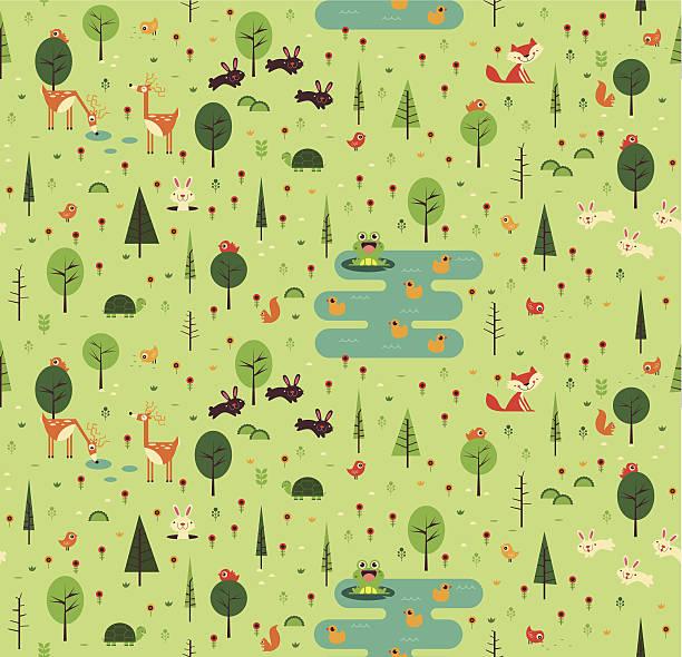 nahtlose muster mit tieren forest - kaninchenbau stock-grafiken, -clipart, -cartoons und -symbole
