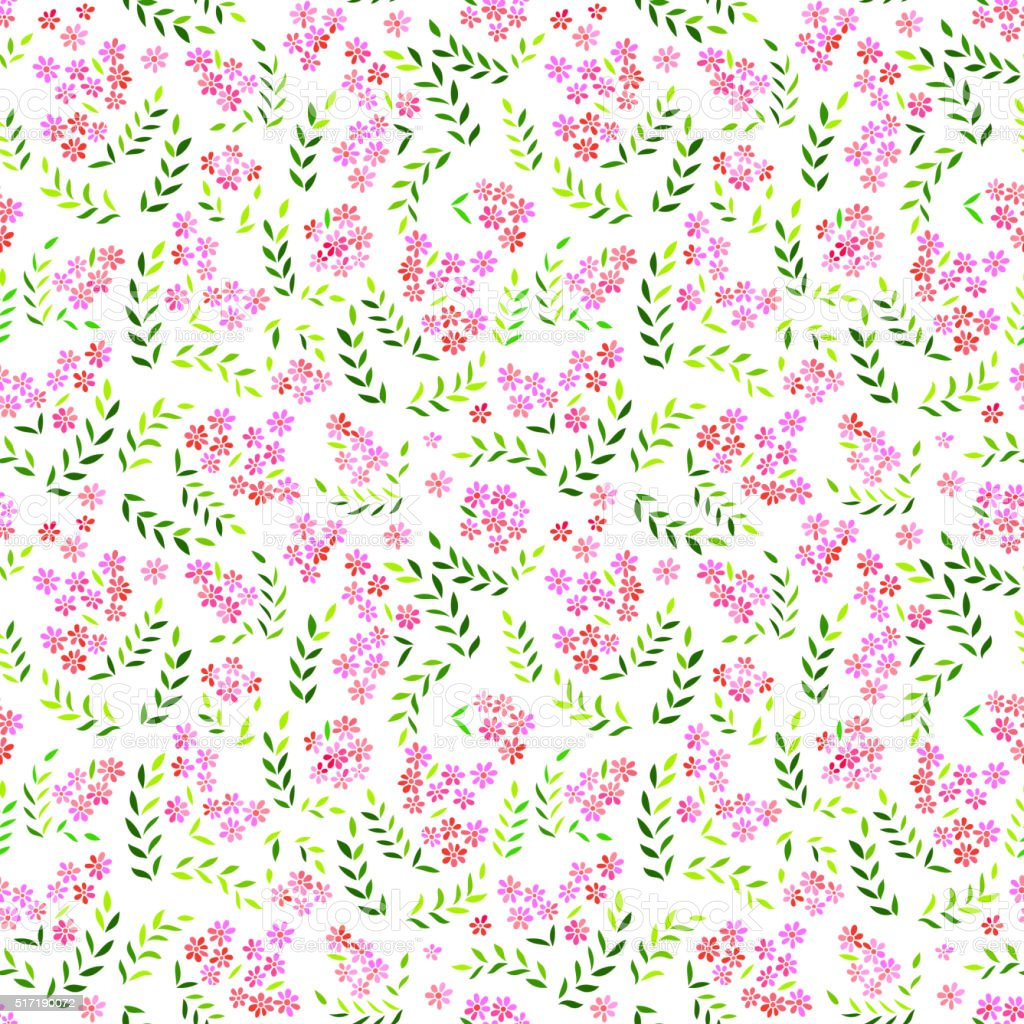 Seamless forget-me-not flowers pattern.  Floral background vector art illustration