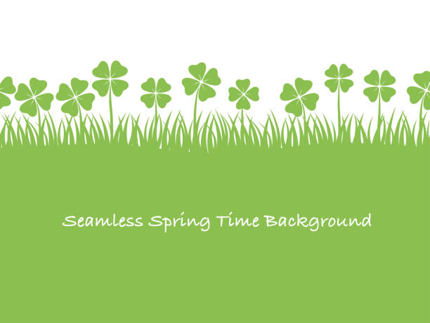 seamless four-leafed clover background illustration. - four seasons stock illustrations
