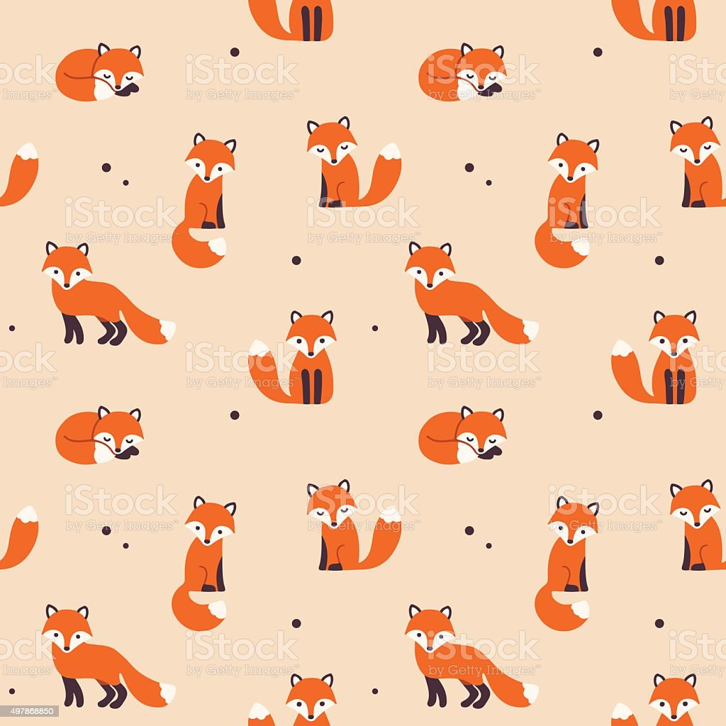 seamless fox pattern vector art illustration
