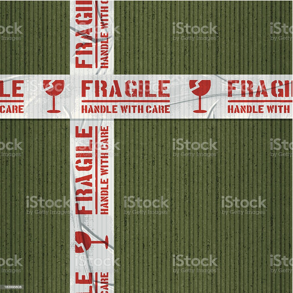 seamless fragile glass adhesive tape tape with green cardboard royalty-free stock vector art