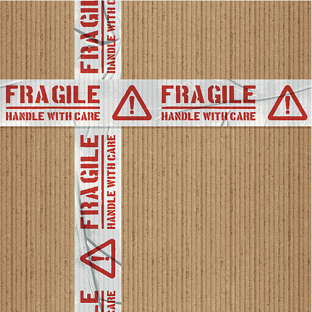 seamless fragile handle with care adhesive tape with cardboard Seamless cardboard and tape background. Repeating pattern (image tiles horizontally and vertically). Layered EPS10 with global colors and transparencies. Individual textures and elements. Hi-res JPG and AICS3 files included. Related images linked below. http://i161.photobucket.com/albums/t234/lolon5/packagingelements_zps82cd4008.jpg fragility stock illustrations
