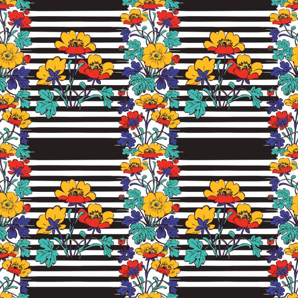 seamless frame botanical bush with tropical flowers vintage print stripes pattern retro spring summer background vector illustration design, fashion, shirt, textile, greeting card, invitation, wedding - spring fashion stock illustrations, clip art, cartoons, & icons