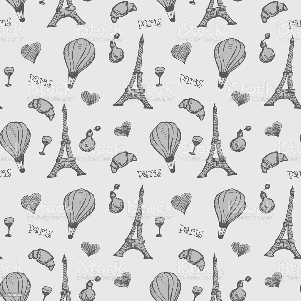 Ilustración de Patrón Sin Costuras Con Torre Eiffel Francia y más ...