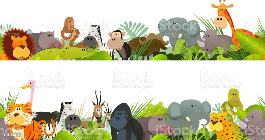 Seamless Frieze With Wild African Animals vector art illustration