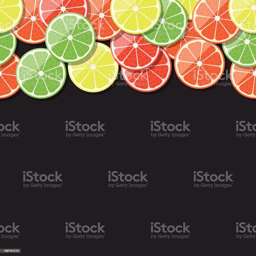 Seamless fruit frame. Citrus, lemon, lime, orange, tangerine. Vector illustration. vector art illustration