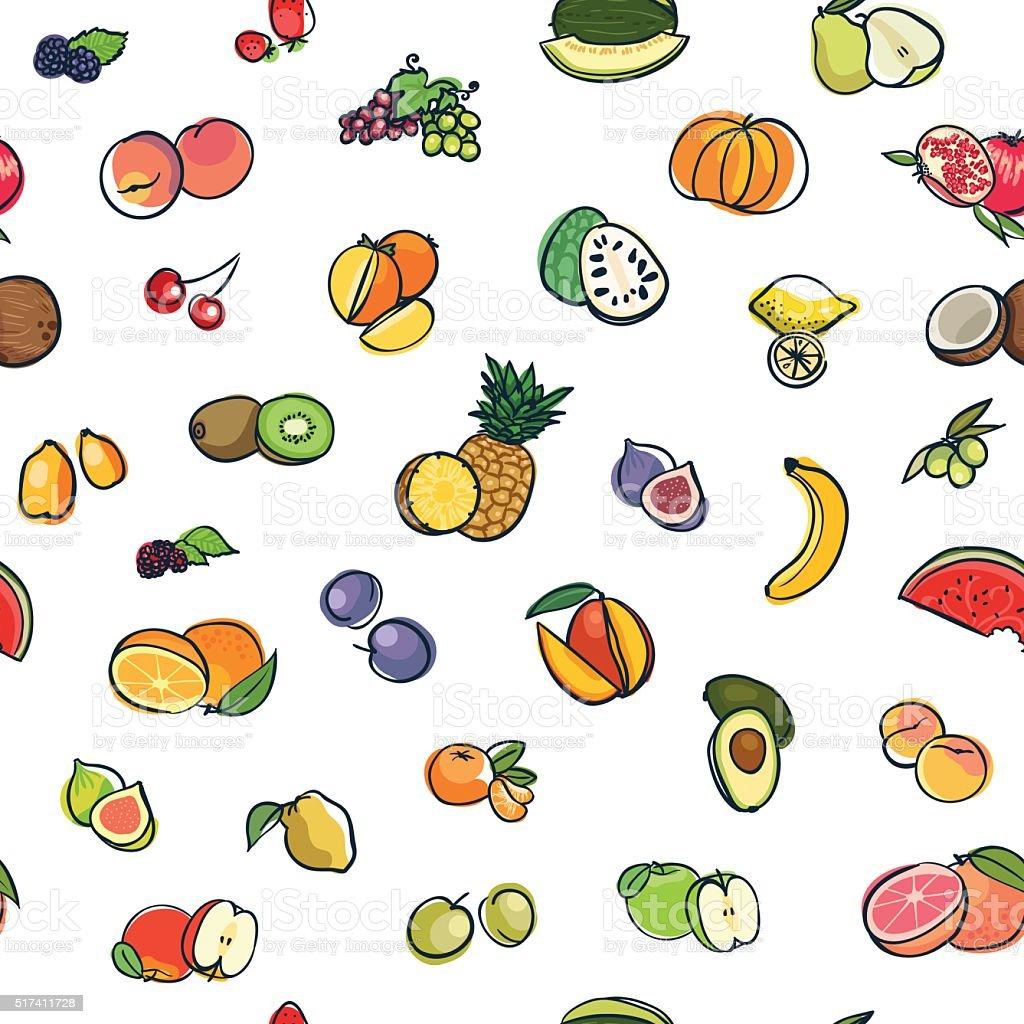 Nahtlose Muster Obst – Vektorgrafik