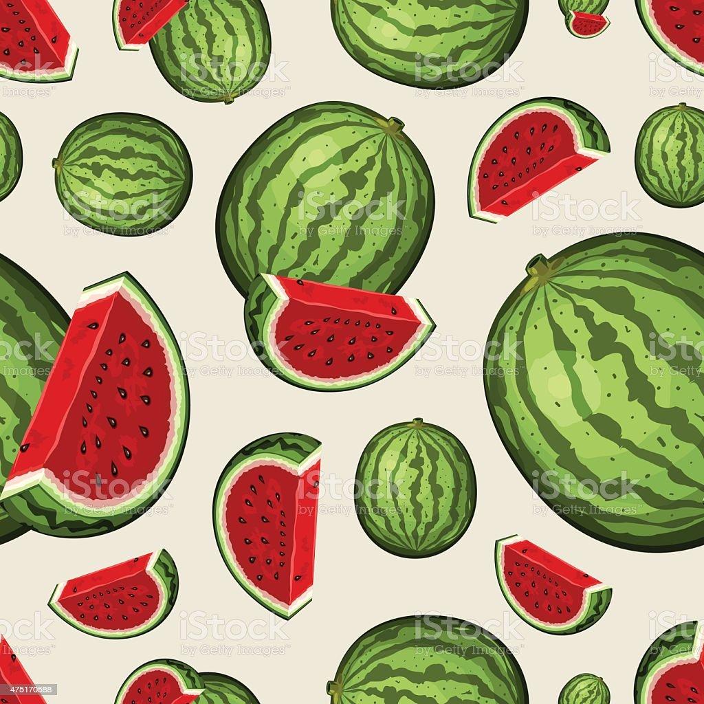 Seamless Fruit Pattern - Watermelons vector art illustration