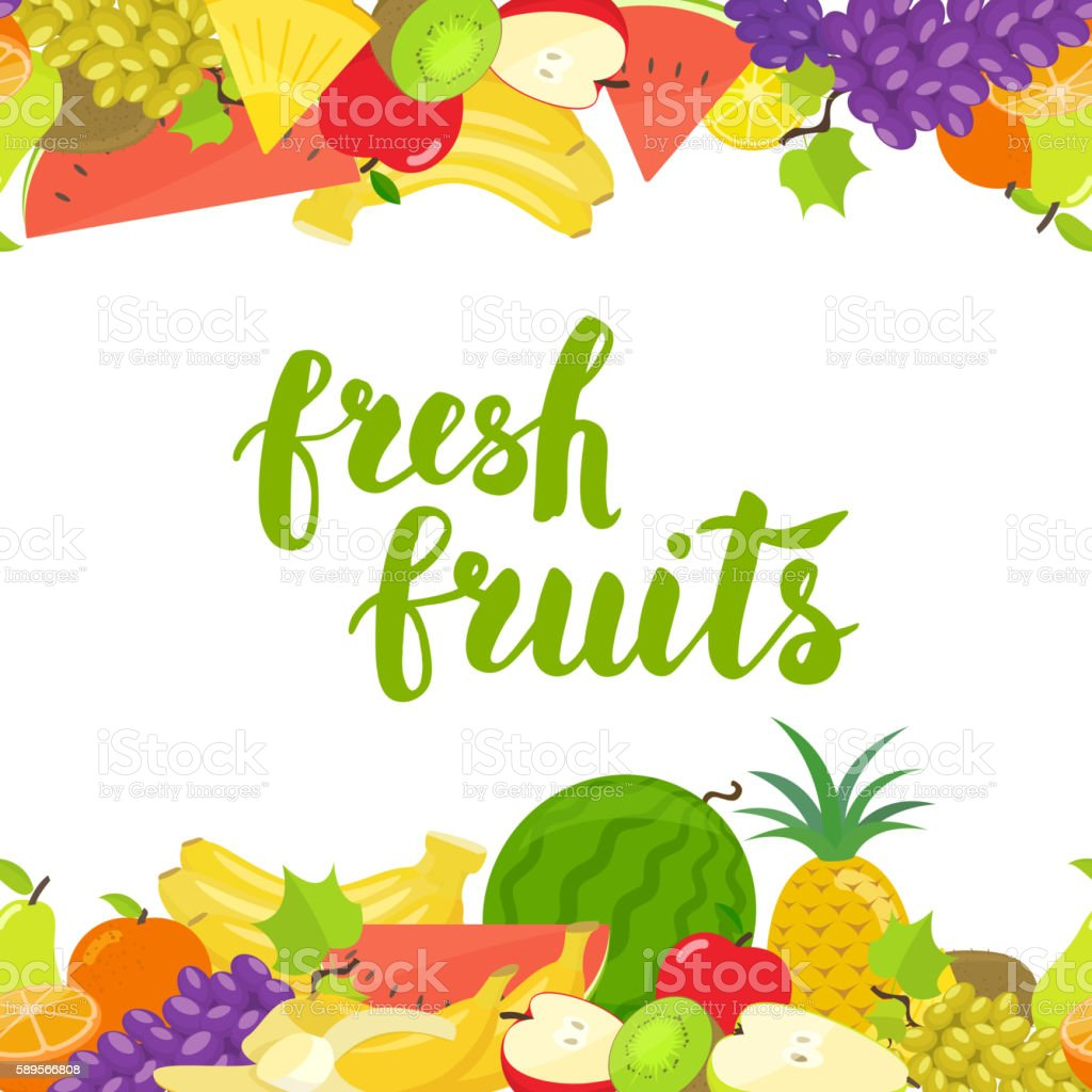 Seamless fruits horizontal border vector art illustration