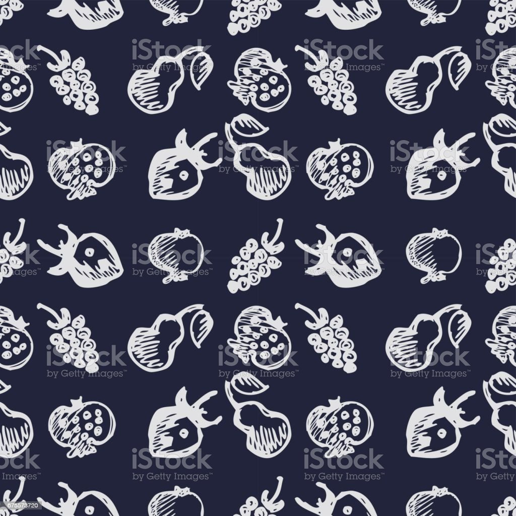 Seamless fruits vector pattern, background with strawberries, pomegranates, pears and blackberries. Hand sketch drawing. Series of Fruits and Hand Drawn Patterns. seamless fruits vector pattern background with strawberries pomegranates pears and blackberries hand sketch drawing series of fruits and hand drawn patterns – cliparts vectoriels et plus d'images de abstrait libre de droits
