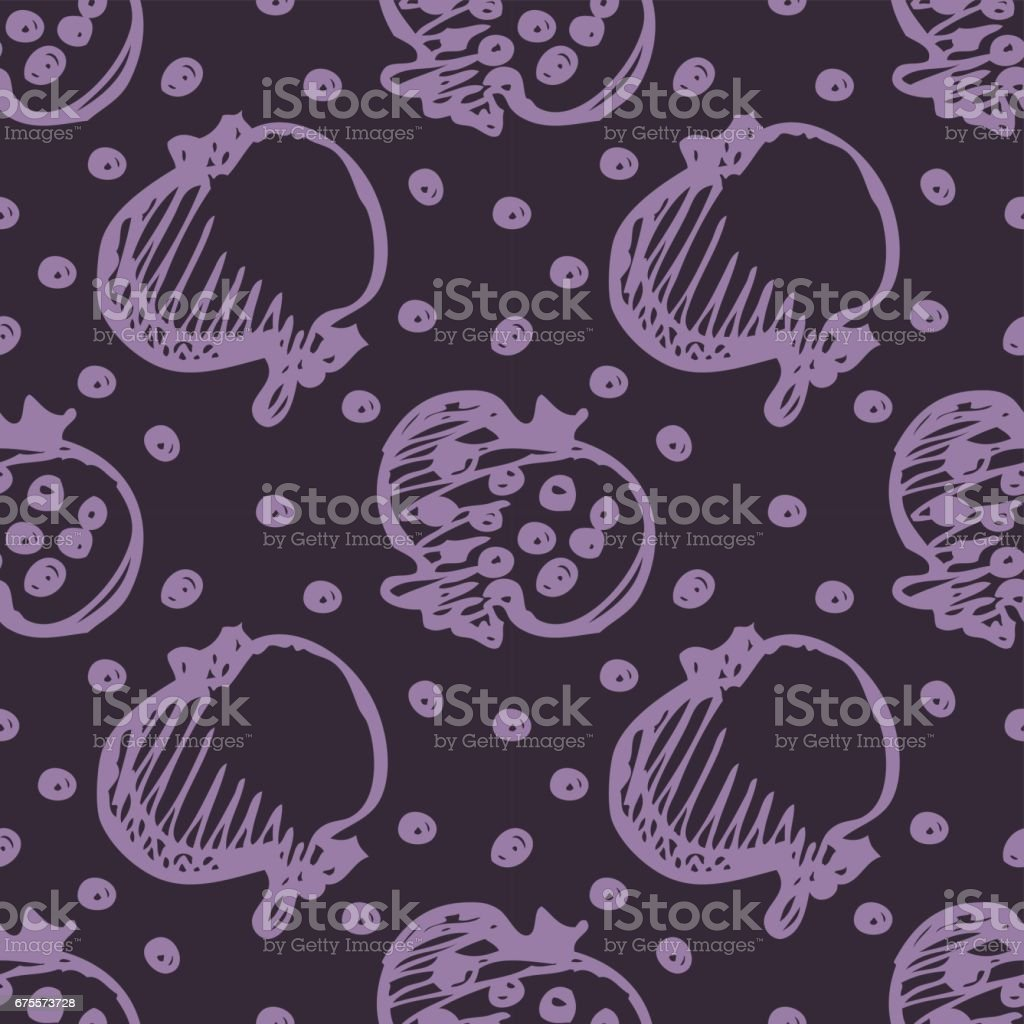 Seamless fruits vector pattern, bright background with close up pomegranates on the dark blue backdrop. Hand sketch drawing. Series of Fruits and Hand Drawn Patterns. seamless fruits vector pattern bright background with close up pomegranates on the dark blue backdrop hand sketch drawing series of fruits and hand drawn patterns – cliparts vectoriels et plus d'images de abstrait libre de droits
