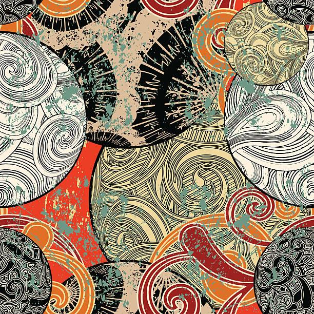 nahtlose originellen japanischen tapeten - stoffmalerei stock-grafiken, -clipart, -cartoons und -symbole