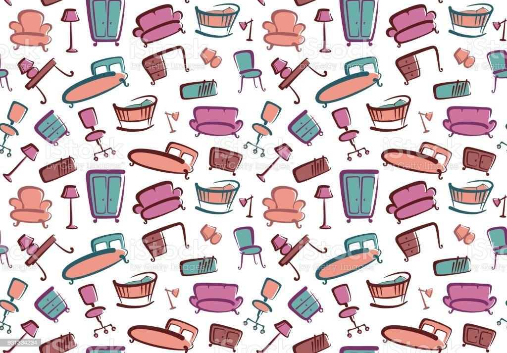Seamless furniture background vector art illustration