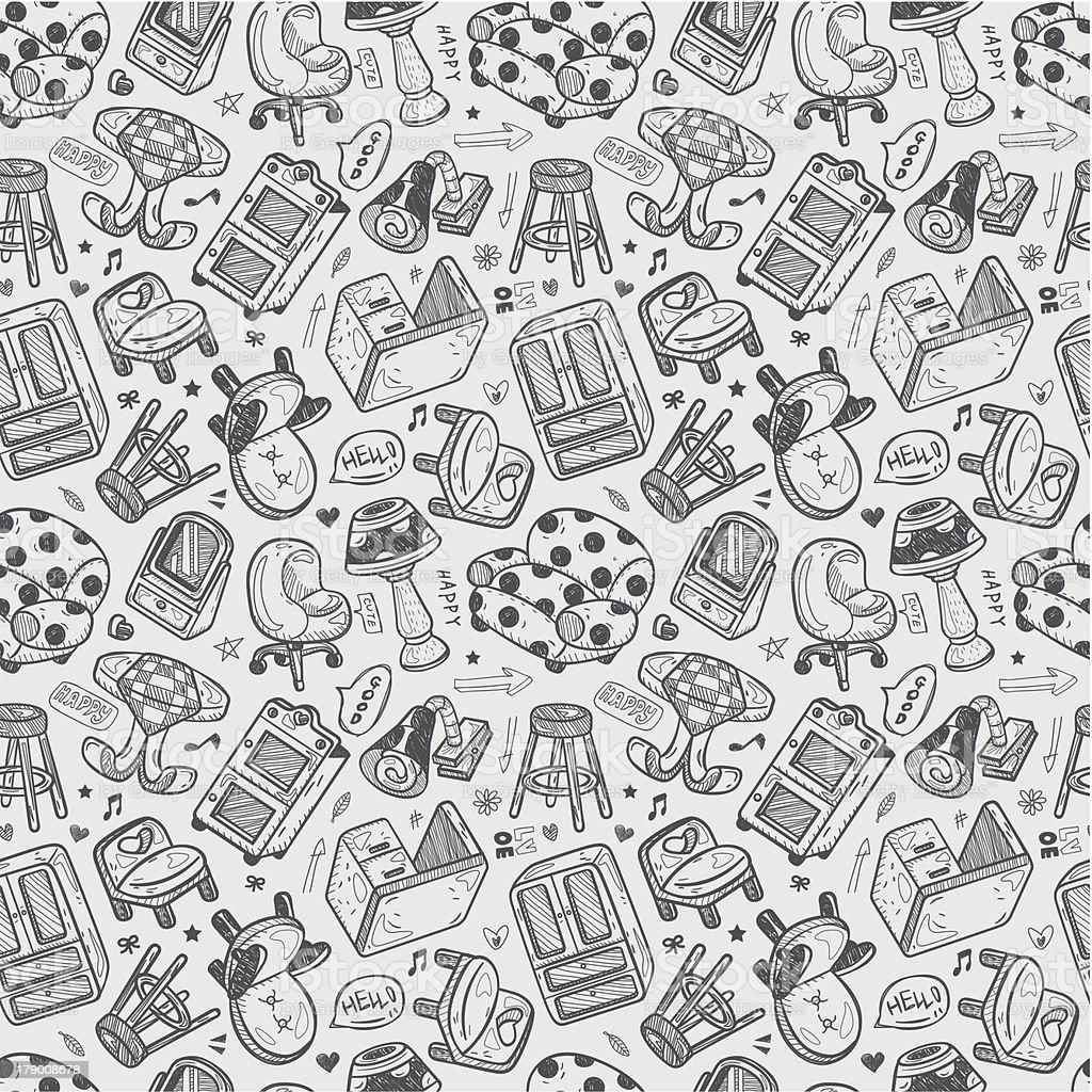 seamless furniture pattern vector art illustration