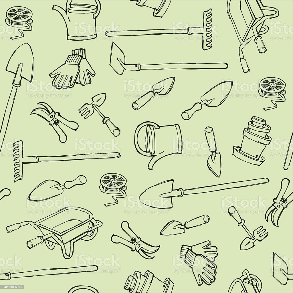 Seamless Gardening Instruments royalty-free stock vector art