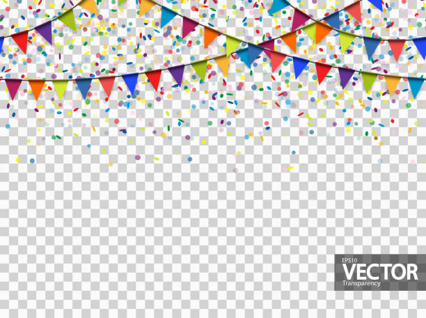 seamless garland and confetti background with vector transparency seamless colored garlands and confetti background for party or festival usage with transparency in vector file invitational stock illustrations