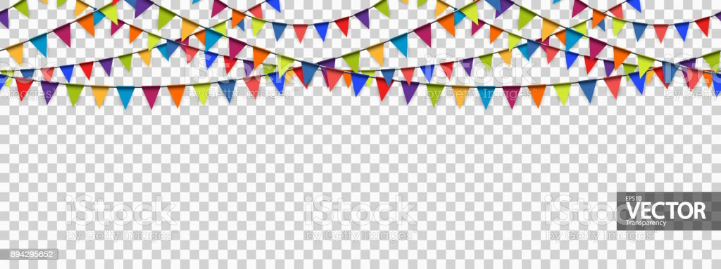 seamless garland background with vector transparency vector art illustration