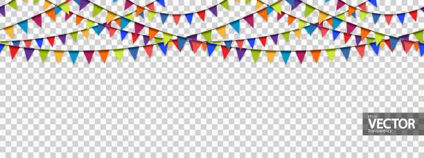 seamless garland background with vector transparency seamless colored garlands background for party or festival usage with transparency in vector file invitational stock illustrations