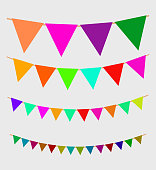 Seamless garland with celebration flags chain, yellow, blue, red, green pennons on gray background, footer and banner for decoration, eps 10
