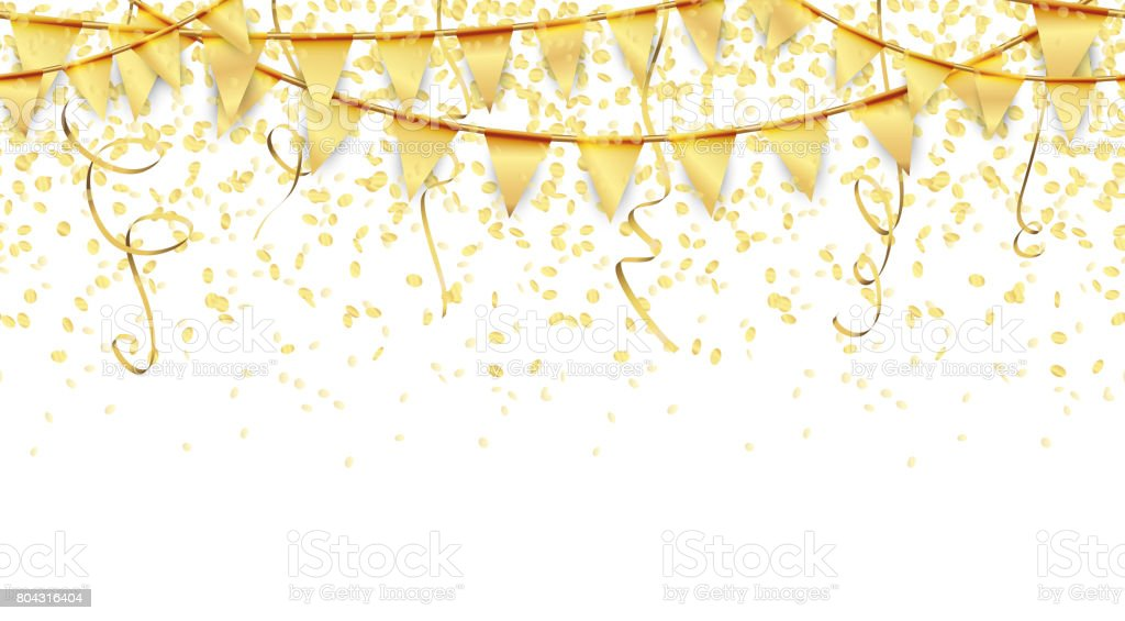 seamless garlands, confetti and streamers background vector art illustration