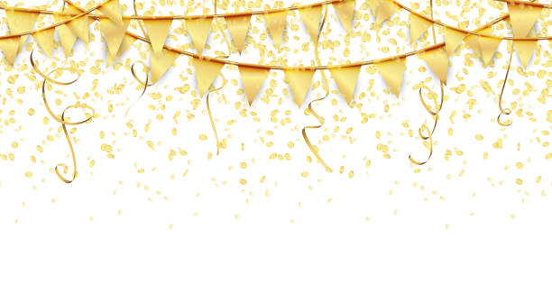 seamless garlands, confetti and streamers background seamless golden garlands, streamers and confetti background for party or festival usage invitational stock illustrations