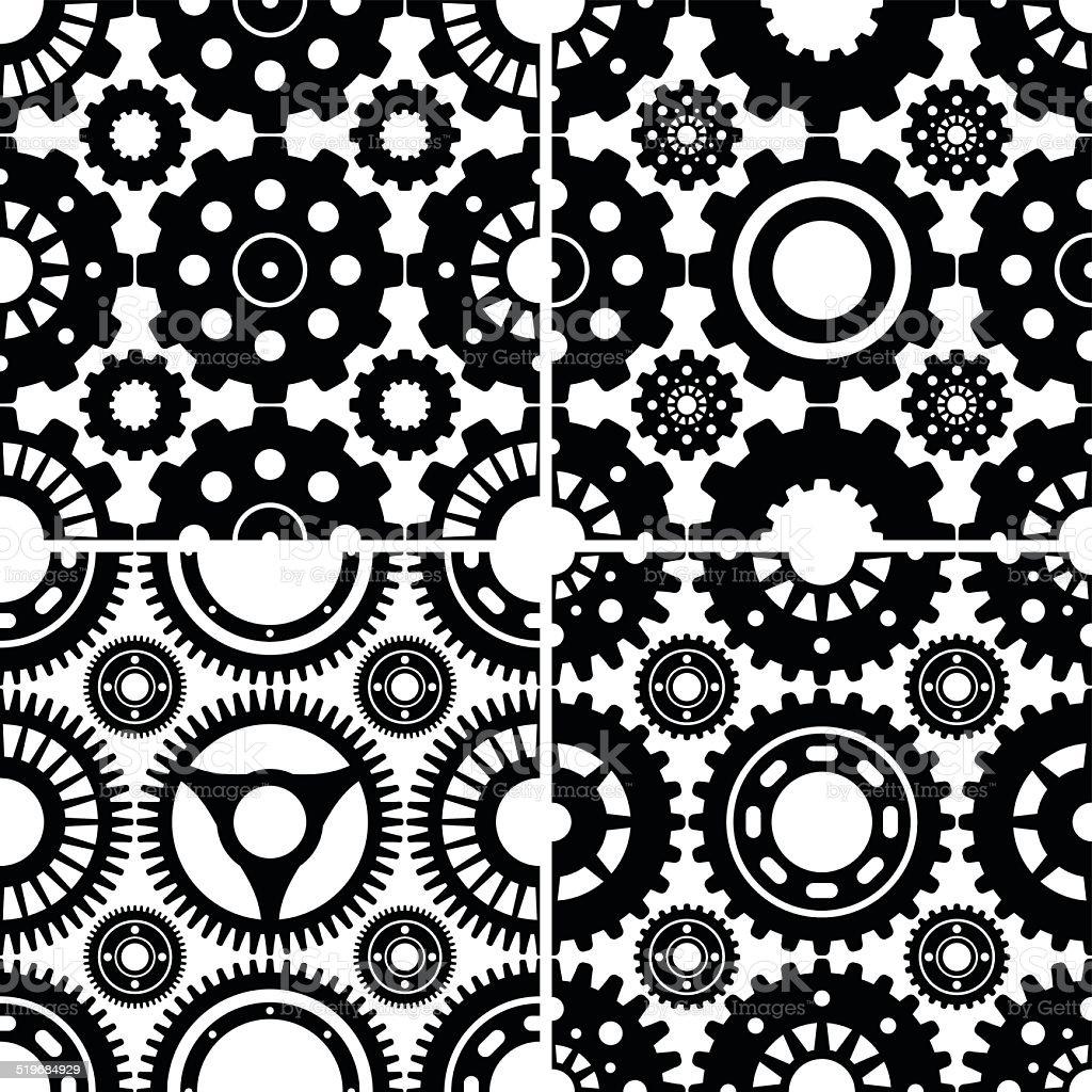 Seamless Gear Patterns Set vector art illustration