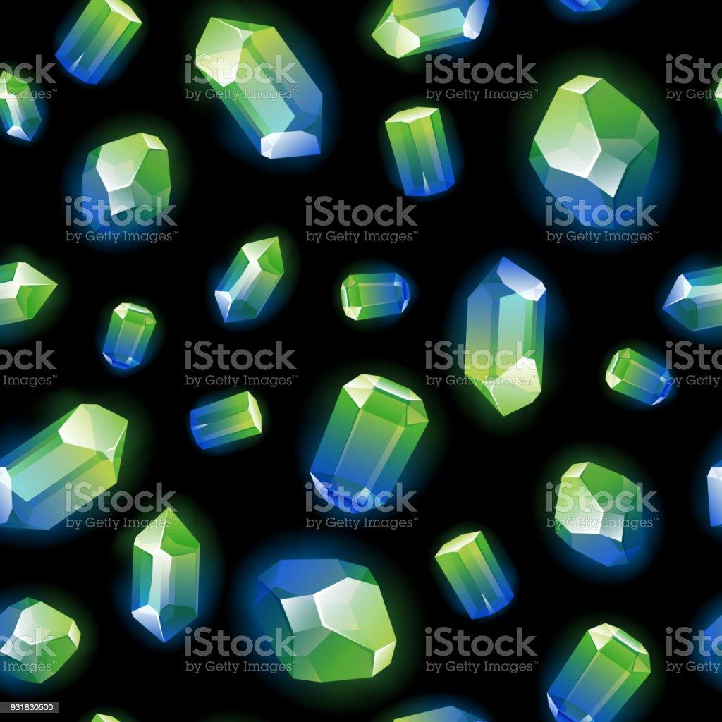a9f29cca5639 Patrón de cristales piedras preciosas sin costuras en negro ilustración de  patrón de cristales piedras preciosas