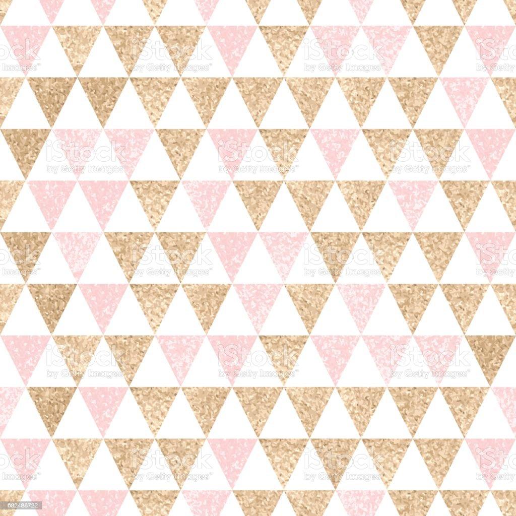 Seamless geometric abstract background. Gold and pink triangles. royalty-free seamless geometric abstract background gold and pink triangles stok vektör sanatı & altın - metal'nin daha fazla görseli