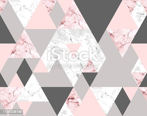 Vector seamless geometric pattern with pink and gray marble triangles. Modern polygons abstract texture on white background