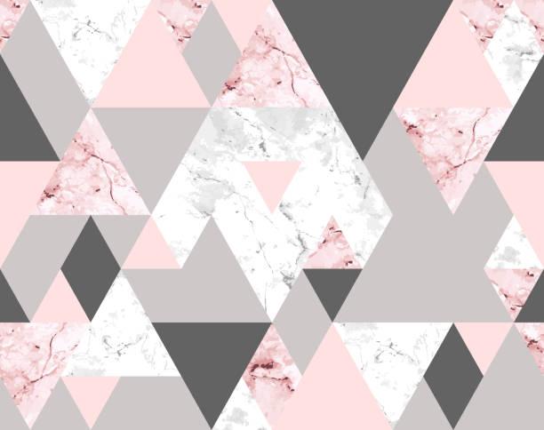 stockillustraties, clipart, cartoons en iconen met naadloze geometrische abstracte patroon met roze en grijs marmer driehoeken - marmeren