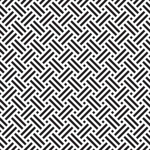 stockillustraties, clipart, cartoons en iconen met naadloze geometrische abstract weven patroon achtergrond. - mand