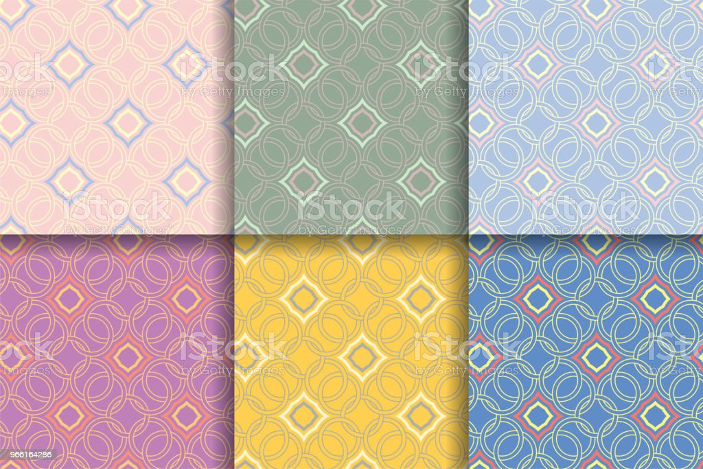 Seamless geometric background. Colored set abstract patterns. - Royalty-free Abstract stock vector