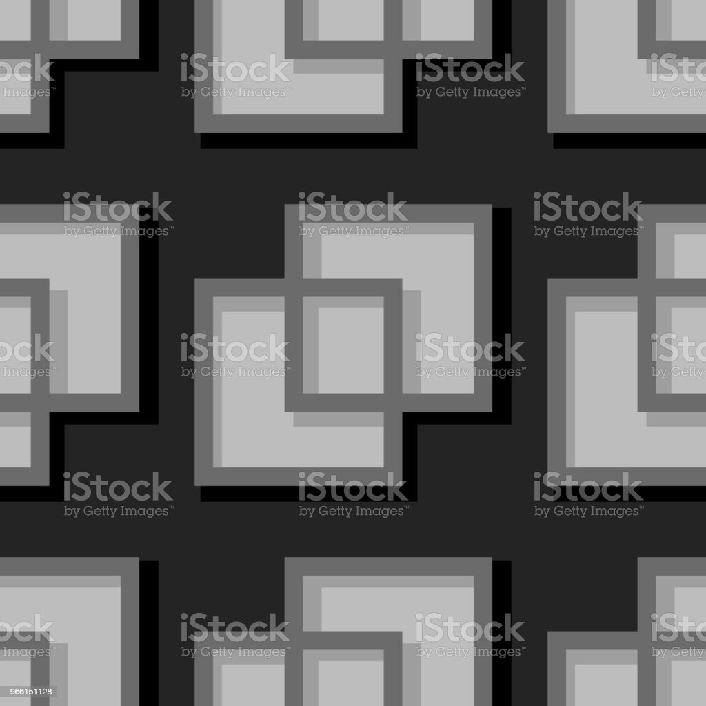 Sömlös geometrisk bakgrund med fyrkantig element. Svart och grå 3d mönster - Royaltyfri Abstrakt vektorgrafik
