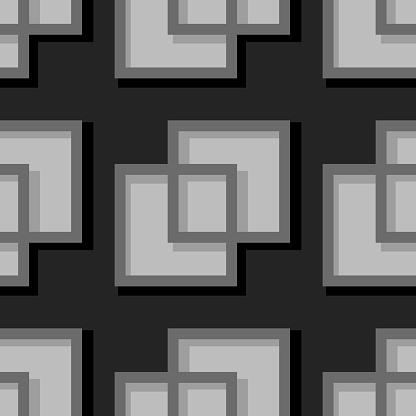Sömlös Geometrisk Bakgrund Med Fyrkantig Element Svart Och Grå 3d Mönster-vektorgrafik och fler bilder på Abstrakt