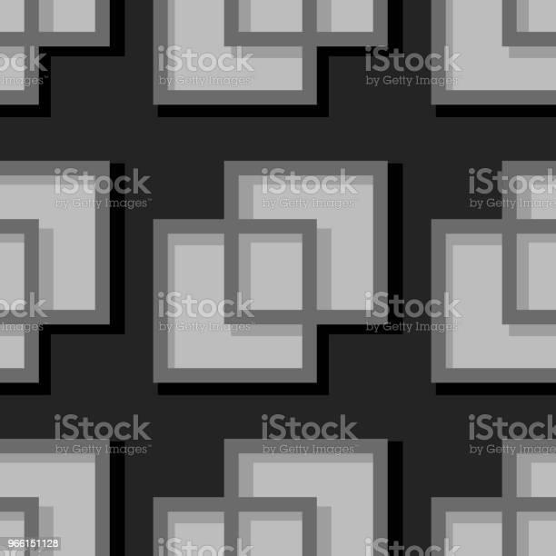 Бесшовный Геометрический Фон С Квадратными Элементами Черный И Серый 3d Узор — стоковая векторная графика и другие изображения на тему Абстрактный