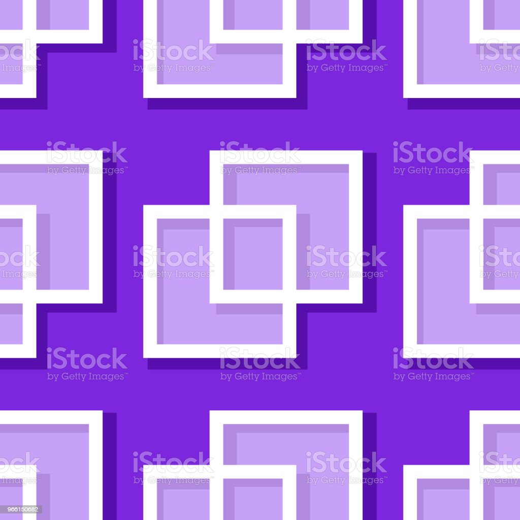 Seamless geometric background with square elements. Violet and lilac 3d pattern - arte vettoriale royalty-free di Astratto
