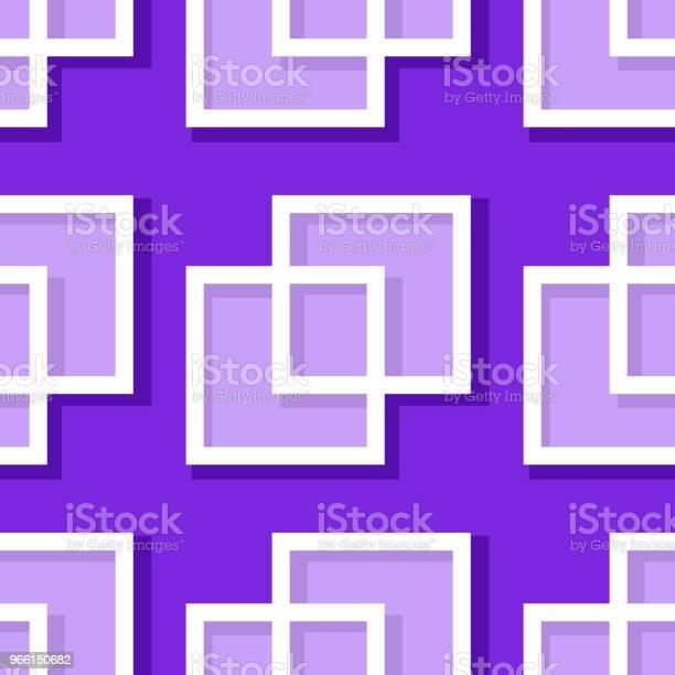 Sfondo Geometrico Senza Cuciture Con Elementi Quadrati Motivo 3d Viola E Lilla - Immagini vettoriali stock e altre immagini di Astratto