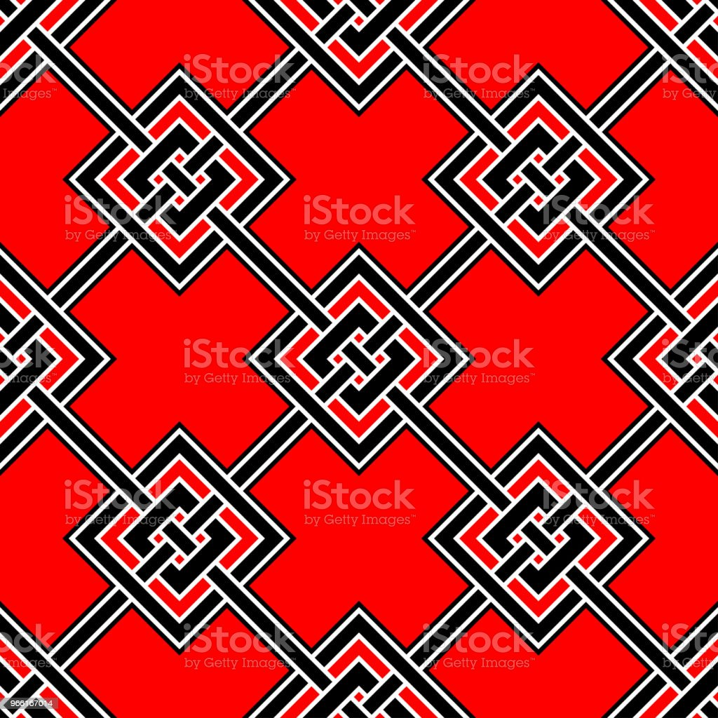 Seamless geometric black background. With red and white elements - arte vettoriale royalty-free di Astratto