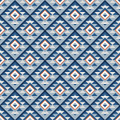 Seamless geometric blue square pattern with shadow. Ornate striped abstract background. Vector illustration