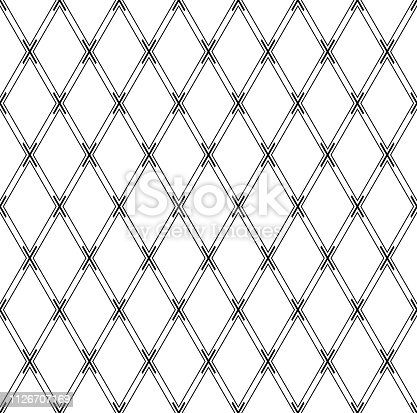 Seamless geometric diamonds pattern. Criss-cross lines texture. Vector art.