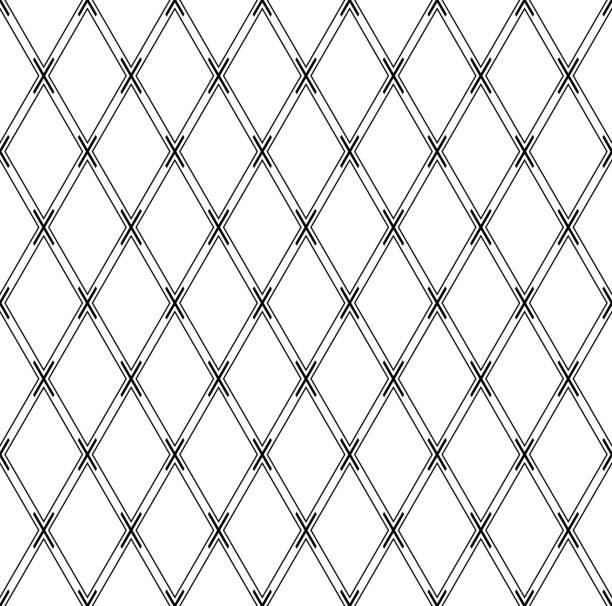 Seamless geometric diamonds pattern. Criss-cross lines texture. Seamless geometric diamonds pattern. Criss-cross lines texture. Vector art. crisscross stock illustrations