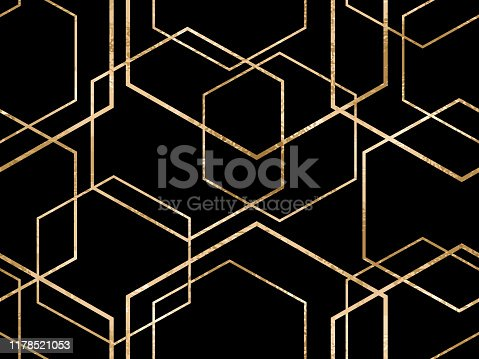 Vector seamless geometric sparkle pattern with gold foil polygons. Metallic golden hexagon abstract texture on black background