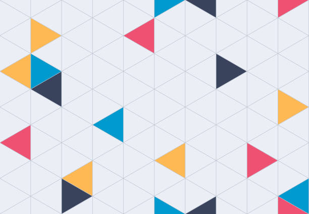 Seamless Geometric Grid Pattern Background Geometric seamless grid background pattern. triangle shape stock illustrations