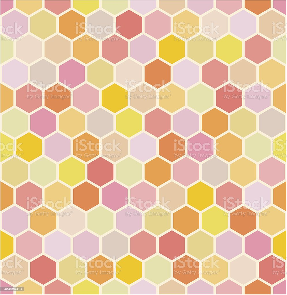 A seamless geometric hexagonal pattern in various colors royalty-free stock vector art