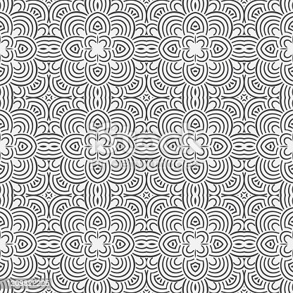 Seamless geometric monochrome pattern. Black repeating curved vector lines. For the cover, of cards, wallpaper, fabric. Graphic lattice design.