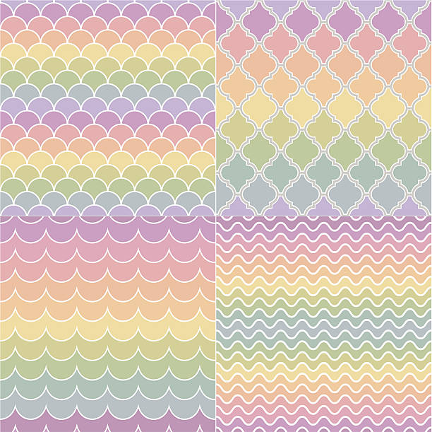 seamless geometric pastel colors pattern - scallop stock illustrations, clip art, cartoons, & icons