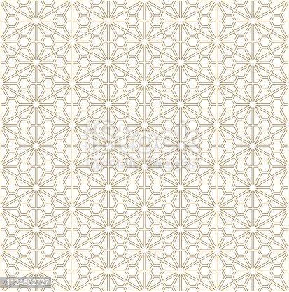 Seamless pattern based on Japanese ornament Kumiko.Golden color.