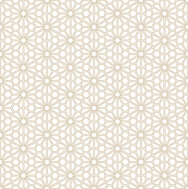 seamless geometric pattern based on japanese ornament kumiko - floral and decorative background stock illustrations