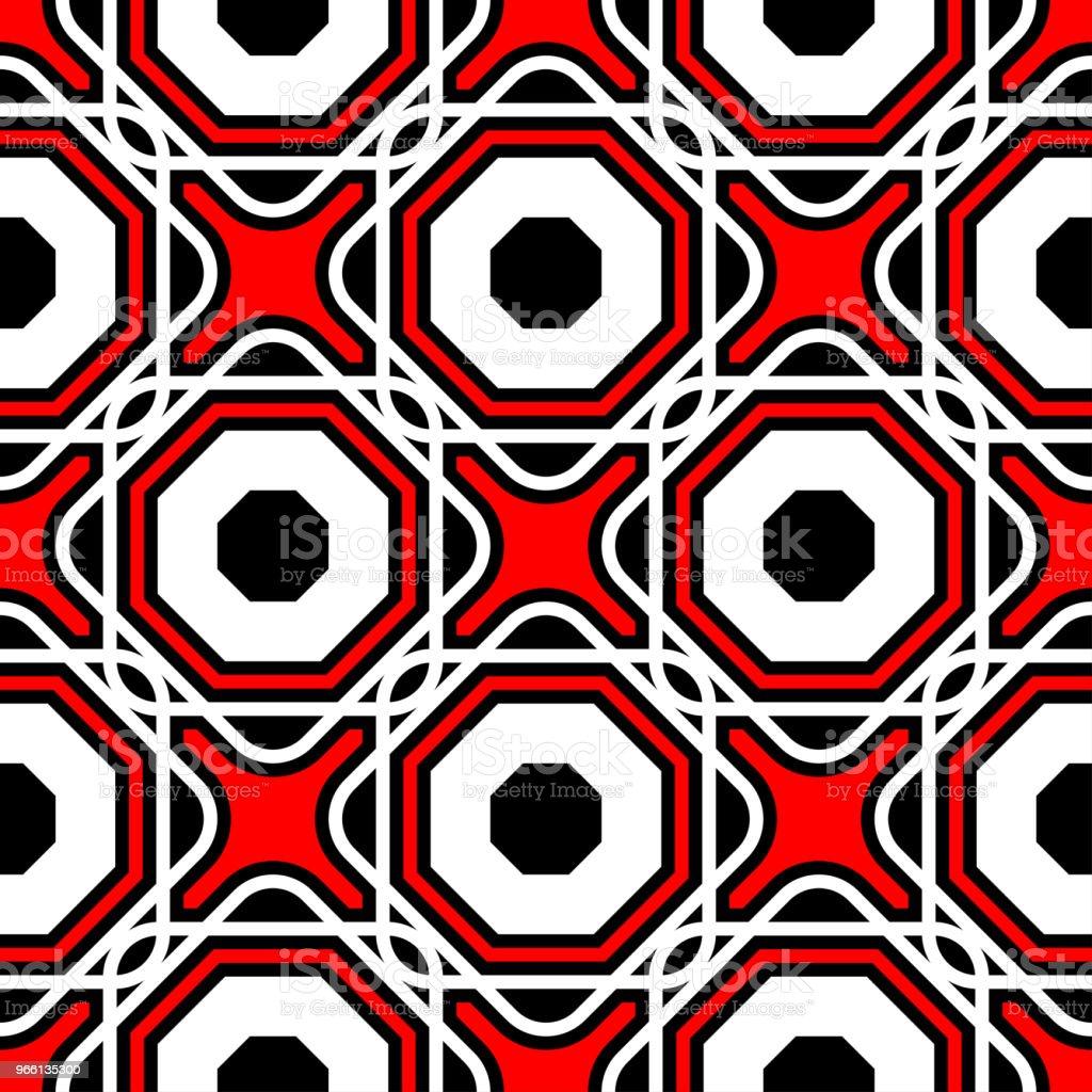 Sömlös geometriska mönster. Svart röd och vit bakgrund - Royaltyfri Abstrakt vektorgrafik
